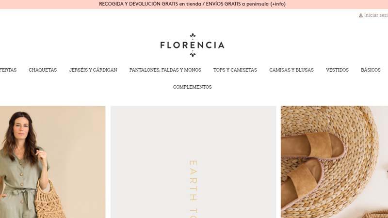 Imagen de la pagina web de florencia shop moda